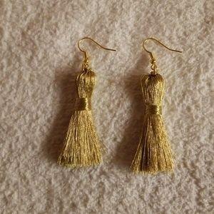 Shimmery Goldtone Tassel Earrings